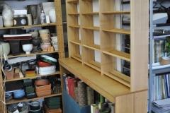 フラワーアレンジメント教室のリボン収納棚